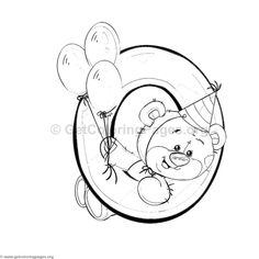 Teddy Bear Number Zero Coloring Pages