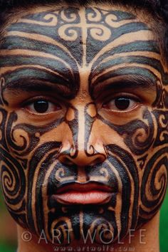 Photo by Art Wolfe . Maori man, Australia/New Zealand. Maori tattoos are part of the culture of the indeigenous Polynesian people of New Zealand. Maori Tattoos, Ta Moko Tattoo, Maori Tattoo Designs, Maori Face Tattoo, Tattoo Wolf, Tribal Tattoos, Borneo Tattoos, Neck Tattoos, Samoan Tattoo