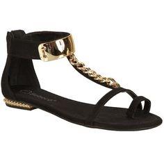 Sandália Rasteira Bebece Preta Preto e Dourado #flat #black #golden #sandals…