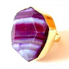 Purple Agate Ring