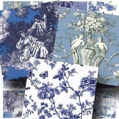 Francés Toile azul y blanco Collage por CharmedMemoryCollage