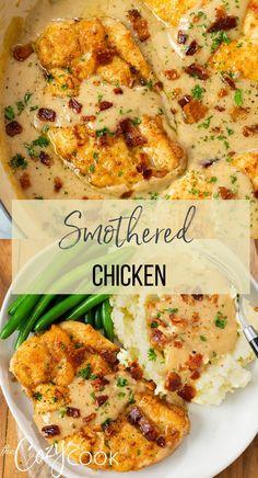 Yummy Chicken Recipes, Turkey Recipes, Smothered Chicken Recipes, Recipes With Chicken Thighs, Chicken Chop Recipe, Fried Chicken Thigh Recipes, Entree Recipes, Dinner Recipes, Cooking Recipes