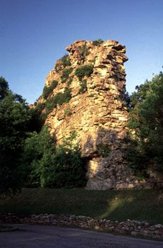 Located along Route 52, near historic Bramwell in Mercer County, Pinnacle Rock State Park is one of the more interesting wayside parks operated by the West Virginia State Park system.    Towering above the rugged mountains of southeastern West Virginia, Pinnacle Rock is an unusual sandstone formation reaching 3,100 feet above sea level.