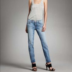 """J Brand Santorini Low-Rise Skinny Santorini Jeans Fitted from hip to ankle, the 912 skinny jean from J Brand Jeans is a wardrobe essential. This basic cut pairs effortlessly with casual or chic tops, and with heels, flats, and boots. 912 cut in the Santorini (faded light blue) wash with whiskering; 10 oz. lightweight stretch denim. Low rise. Five-pocket style; clean back pockets. Skinny legs fitted from hip to ankle; approx. 10"""" openings. Button/zip fly; belt loops. Approx. 29"""" inseam…"""