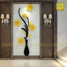 Vase Wall Murals for Living Room Bedroom Sofa Backdrop Tv Wall Background, Originality Stickers Gift, DIY Wall Decal Wall Decor Wall Decorations (Yellow, 30 X 12 inches) Mural Wall Art, Diy Wall Art, Home Wall Art, Wall Decal, Glass Design, Wall Design, Backdrop Tv, Ceiling Decor, Home Decor Bedroom
