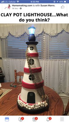 From facebook. Diy lighthouse mads from pots!