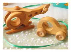 Wooden toys Helicopter and Car. Set with 2 handmade organic toys - Ready to Ship, $24.95