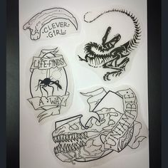 Drew a Jurassic park flash, all designs up for grabs! Send a message if interested there going at a special rate Clever Tattoos, Badass Tattoos, Life Tattoos, Tatoos, Jurassic Park Tattoo, Clever Girl Jurassic Park, Park Art, Piercing Tattoo, Future Tattoos