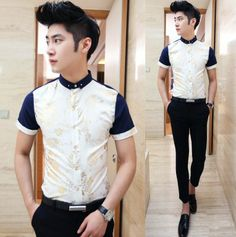 Promotion 2014 Fashion Chinese Stylish Golden Floral Man Shirts Slim Mens Fashion Party Club Wear Shirts $25.28 Nerd Fashion, Fashion Outfits, Fashion Men, Mens Clothing Styles, Men's Clothing, Casual Wear For Men, Club Shirts, Clubwear, Casual Shirts