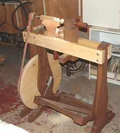 Woodworkers Treadle Lathe, Woodbodied And Foot Operated