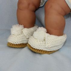 (6) Name: 'Knitting : Baby Simple Bobble Slippers