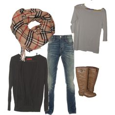 white tee, black card, brown boots and Burberry scarf
