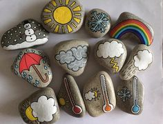 A set of waterproof weather story stones that are perfect for daily weather forecasts or can be used to tell weather stories and help children to describe the different seasons. The set includes 12 stones.