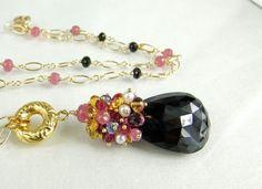 Black SpinelPink SapphireTanzanitePearlRuby by skyvalleyjewelry, $365.00