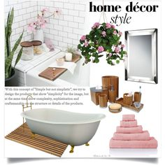 Turn Your Bathroom Into a Spa by clotheshawg on Polyvore featuring interior, interiors, interior design, home, home decor, interior decorating, Nu Steel, Chelsom, Nearly Natural and Skagerak