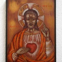Heart Of Jesus, Glass Artwork, Catholic Art, Spiritual Gifts, Opaline, Sacred Heart, Hanging Wall Art, Vibrant Colors, Christian