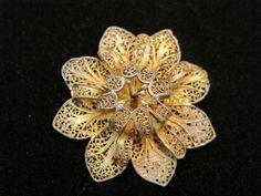 Topazio Portugal Guilded Sterling Silver Gold Wash Filigree Pin Brooch | eBay