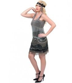 Iconic by UV Exclusive 1920s Style Black & Blue Beaded Tycoon Flapper Dress