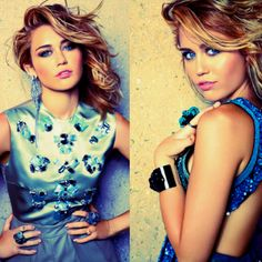 Miley Cyrus makeup and hair, dress looks amazing