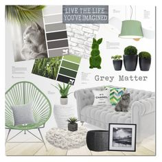 """Grey Matter"" by justlovedesign ❤ liked on Polyvore featuring interior, interiors, interior design, home, home decor, interior decorating, Joybird, Marset, Innit and Brewster Home Fashions"