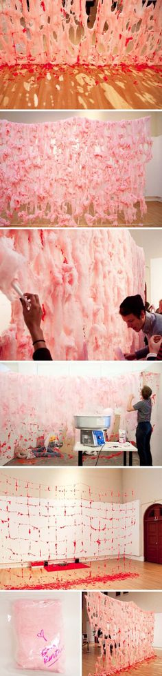 Cotton Candy Ephemeral installation, cool art installation utilizing all senses by Erno-Erik Raitanen, Finnish contemporary art