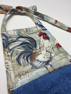 Rooster Towel,Rooster Decor,rooster collector,Rooster Kitchen towel,chickens,country decor,farm fresh,french country,Blue towel,hostess gift by thestuffedcat on Etsy