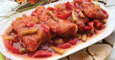 Ryba smażona w panierce, zanurzona w słodko-kwaśnym sosie, z chrupiącymi warzywami - może stać się ulubioną potrawą rybną. Polecam! Tandoori Chicken, Chicken Wings, Seafood, Meat, Ethnic Recipes, Cos, Sea Food, Seafood Dishes, Buffalo Wings