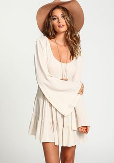 Crepe Tiered Bell Sleeves Dress - Clothes