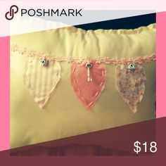 """Triple Heart Pillow 11"""" x 14"""" cotton rectangle pillow with 3 heart appliqués and heart charms. Perfect for Valentine's Day or for your little girls room. Other"""