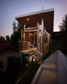 A mere 172 square feet, the treehouse in the hills of Brentwood in Los Angeles was designed by Rockefeller Partners Architects, Inc. as a refuge, gallery and guest cottage | 10 Surreal Tree Houses That Will Make Your Childhood Dreams Come True | Dwell