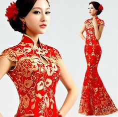 cheongsam red on sale at reasonable prices, buy modern chinese traditional dress long cheongsam red xxxl phoenix plus size cheongsam wedding dress fishtail red lace in sequin from mobile site on Aliexpress Now! Ball Dresses, Sexy Dresses, Dress Outfits, Ball Gowns, Evening Dresses, Dress Up, Prom Dress, Ceremony Dresses, Dresses 2014