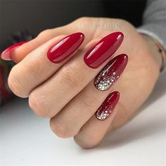 Red gel nails with sparkle accent red shellac nails, hot nails, matte Red Shellac Nails, Sparkle Gel Nails, Red Acrylic Nails, Hot Nails, Glitter Nail Art, Nail Polish, Accent Nail Glitter, Red Nails With Glitter, Red Manicure