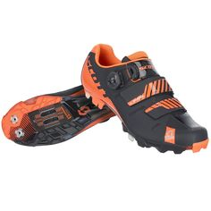 The SCOTT MTBPremium shoe is as fast as it looks. The shoe uses a <span>Boa®</span>IP1 closure at the top plus two lower anatomic fit straps that can articulate to adapt to the shape of the foot. The asymmetrically conforming upper is perforated and breathable, made of microfiber airmesh with a new adaptive fit pattern. The ErgoLogic insole features anadjustable arch support and removeable metatarsal button. The stiff Carbon fiber sole has a stiffness index of 9.