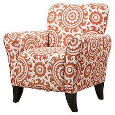 The Sean Arm Chair features a transitional design with flared arms and shaped back with dark espresso wood legs.  Covered in an orange and cream medallion 100% cotton.  Ideal for small space living with plush foam, fiber and independently wrapped pocket coil spring system. HANDY LOCK easy connect, simply slide and click for easy assembly in just minutes, no tools needed .