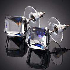 Ice Cubes -    Platinum Plated Swarovski Elements Crystal Stud Earrings