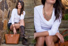The perfect combination of a studded boot and the go-to caramel tote!   Country Outfitter