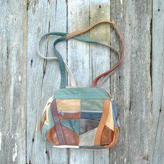 Patchwork Leather Bag  //  Southwest Shoulder Bag  //  RIVER BAND. $30.00, via Etsy.