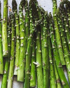 10-Minute Garlic Roasted Asparagus to celebrate spring!  It's the easiest side dish you'll ever make. So good. Here's the recipe from my book. Enjoy!   1 bunch medium-fat asparagus 1 tbsp olive oil salt & pepper, to taste 2 tbsp garlic butter  Toss asparagus in olive oil and season with s&p. Roast @ 400 F for 10 minutes, or until crisp tender. Add garlic butter towards the end of cooking to melt {so the garlic doesn't burn} Serve warm.