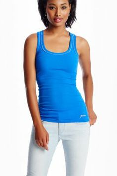 In Black, Pink, Blue and Grey GUESS Samantha Tank | GuessFactory.com