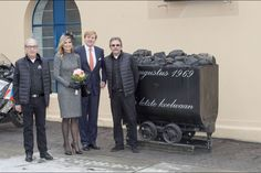 On October 8, 2015, Queen Maxima and King Willem-Alexander of The Netherlands visit the former mine region in Limburg, The Netherlands