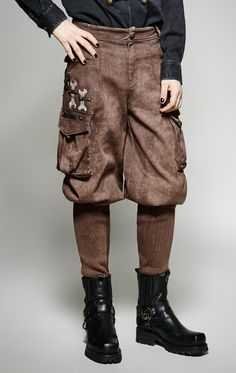 Cheap fashion pants, Buy Quality pants fashion directly from China steampunk trousers Suppliers: Punk rave Fashion Coffee Black Cotton Goth Steampunk Trouser Pants Steampunk Mechanic, Nylons, Professor Layton, Late Middle Ages, Desert Fashion, Punk Rave, Brown Pants, Cosplay, Trouser Pants