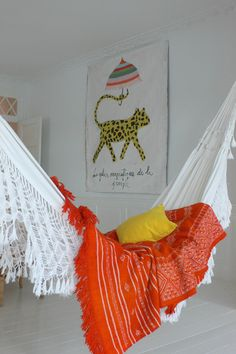 reading zone: one idea would be to hang a hammock in the reading area for a cozy place to read. Indoor Hammock, Hanging Hammock Chair, Hammock Stand, Moroccan Home Decor, Diy Home Decor, Hammock Accessories, Bohemian Interior, Cozy Place, My Dream Home