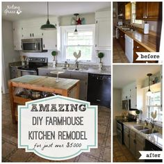 Noting Grace -Farmhouse Kitchen Makeover-Treasure Hunt Thursday- From My Front Porch To Yours Grace Kitchen, Small Farmhouse Kitchen, Open Plan Kitchen, Farmhouse Kitchens, Farmhouse Design, Rustic Farmhouse, Best Kitchen Layout, Design Kitchen, New Kitchen Cabinets