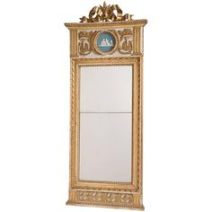 Swedish Gustavian Period Mirror with Giltwood Bow, circa 1790 | From a unique collection of antique and modern wall mirrors at https://www.1stdibs.com/furniture/mirrors/wall-mirrors/
