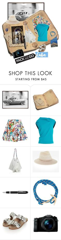 """Pack and Go :CUBA!"" by gagenna ❤ liked on Polyvore featuring Pottery Barn, Jeremy Scott, Roland Mouret, 6 Shore Road, BCBGMAXAZRIA, Fountain, MIANSAI, Topshop, Sony and Aurélie Bidermann"