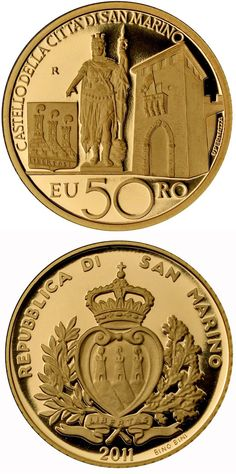 N♡T.50 euro: Architectural Elements.Country: San Marino Mintage year:2011 Face value:50 euro Alloy:Gold Quality:Proof Mintage:1,600 pc proof Issue price:880 euro