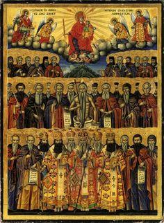 Οι άγιοι του Αγίου Όρους είναι οι φιλόστοργοι πατέρες των Αγιορειτών. Byzantine Icons, Byzantine Art, Art Icon, Orthodox Icons, Christianity, Saints, Religion, Neon, Celestial
