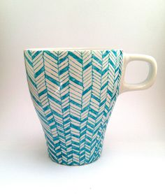 Hand-painted Coffee Mug - Blue & White. $12.00, via Etsy.