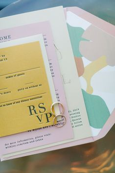 This pastel wedding stationery was featured in a real wedding album from New York on The Knot. Like what you see? Find more fall wedding ideas in the full album on The Knot.Personalize your wedding and put a spin on tradition with The Knot's customizable wedding websites, wedding invitations, registry (and more!). Not sure where to start? Get ideas and advice from our editors on everything from wedding colors and venue types to all things guest.