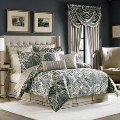 The Marietta bedding collection is an updated, stylized Jacobean in shades of blue and ivory. The comforter is trimmed in ivory cord and has a printed reverse like the shams. The bed skirt is a natural color to tieback to the comforter and is made of line